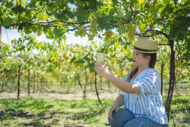 Selfie de la mujer en el jardín de la uva con su smartphone fotos de archivo