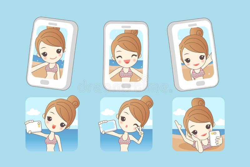 Selfie de la toma de la sonrisa de la mujer de la historieta libre illustration