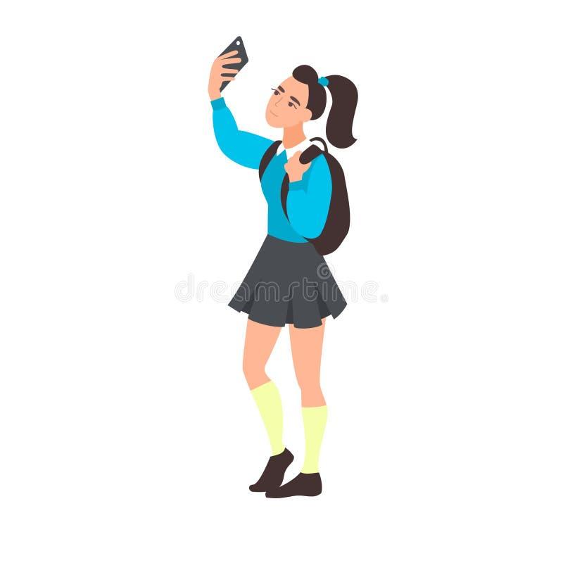 Selfie de la toma de la mujer joven Adolescente blogging El estudiante adolescente toma una foto o un vídeo en el teléfono móvil  stock de ilustración