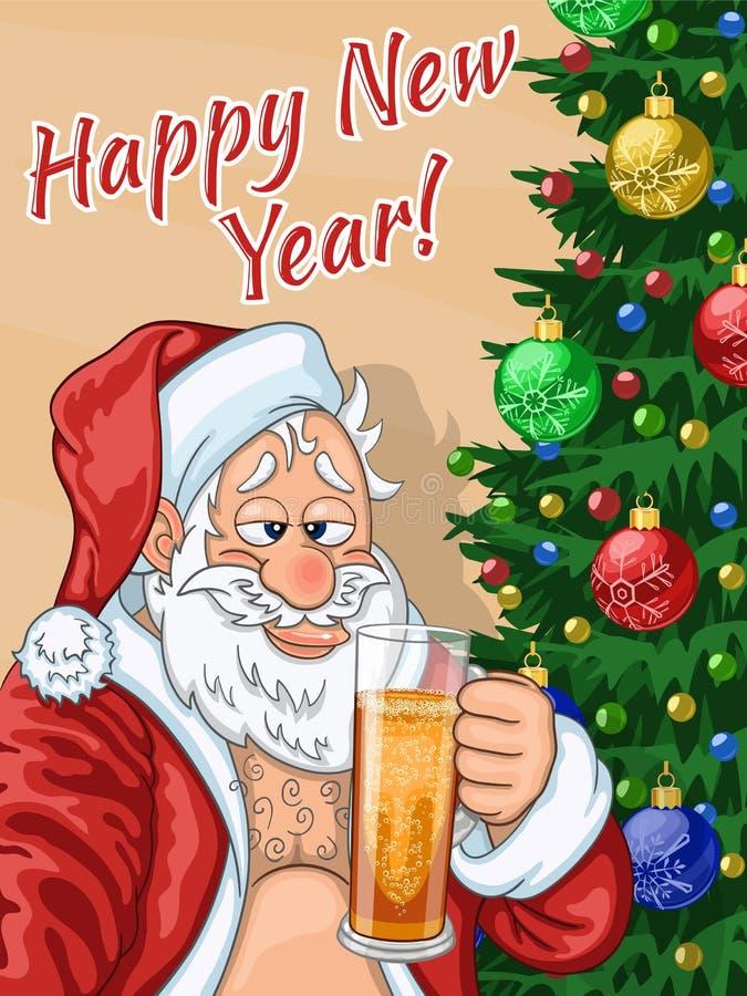 Selfie de Santa Claus con la cerveza libre illustration