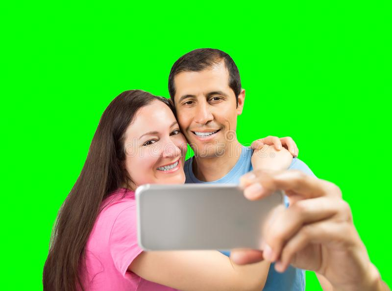 Selfie de um par feliz fotos de stock royalty free