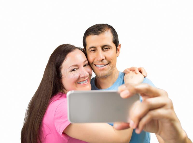 Selfie de um par feliz imagens de stock royalty free