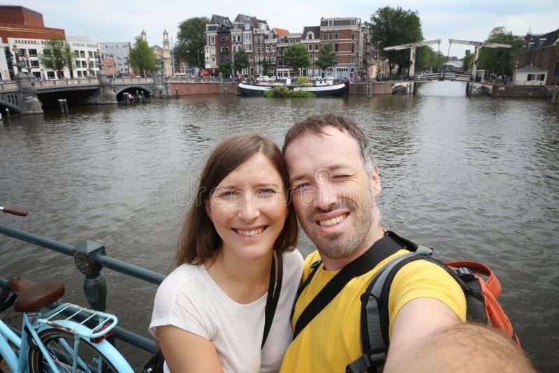 Selfie del turista di Amsterdam immagine stock libera da diritti