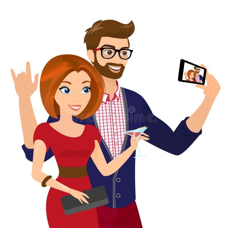 Selfie dell'uomo e della donna bei in vestito rosso royalty illustrazione gratis