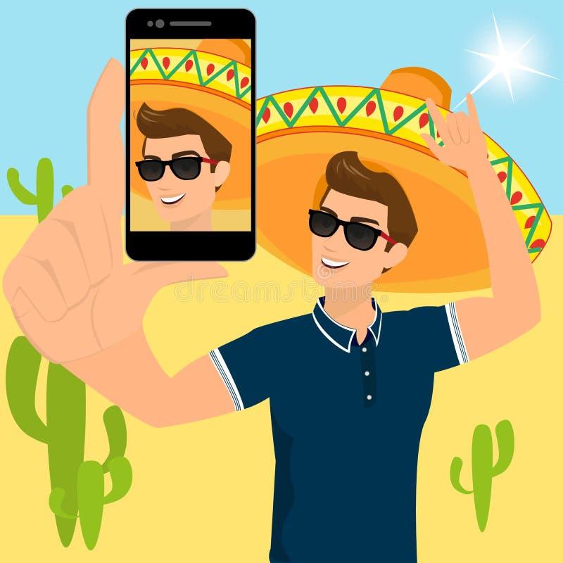 Selfie des lustigen Kerls einen Sombrero tragend stock abbildung