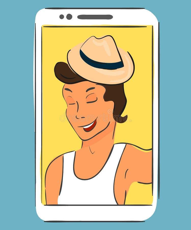Selfie des tragenden Hutes des Kerls Handdrawn Vektor stock abbildung