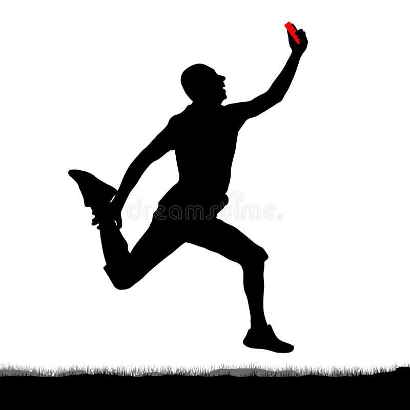 Selfie di salto in lungo, siluetta Salto originale di un uomo con uno smartphone in sua mano illustrazione vettoriale