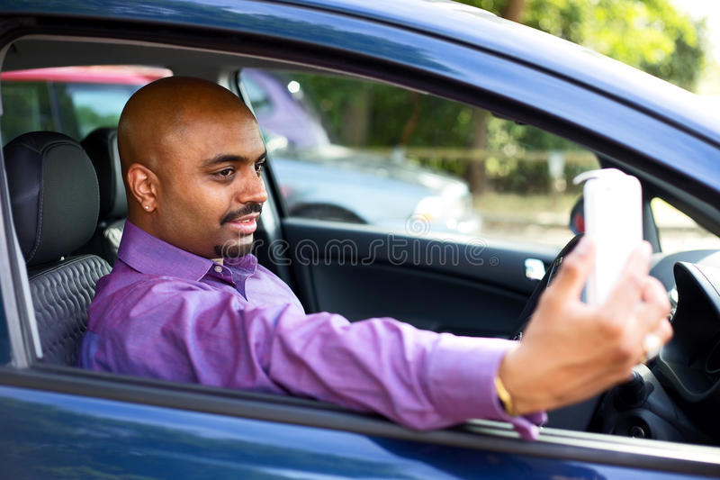 Selfie do carro foto de stock