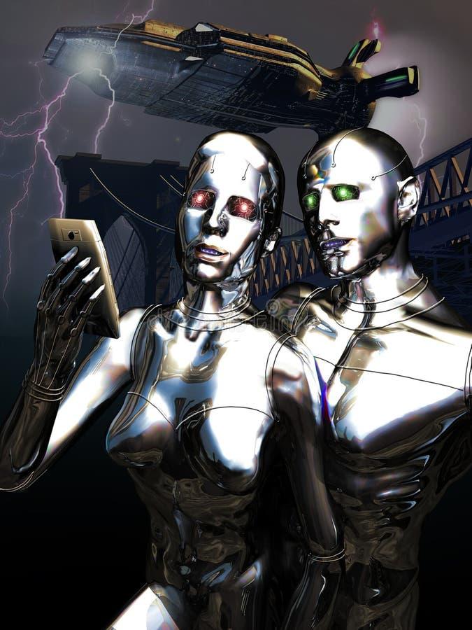 Selfie dos androides ilustração do vetor