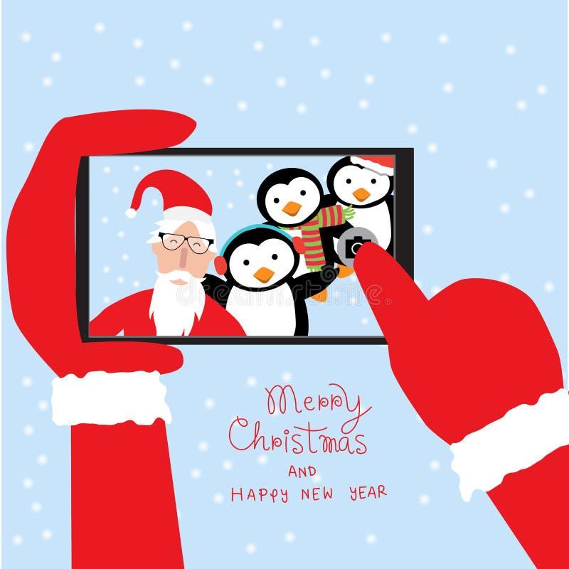 Selfie du père noël de hippie avec des pingouins par le smartphone pour le merr illustration stock