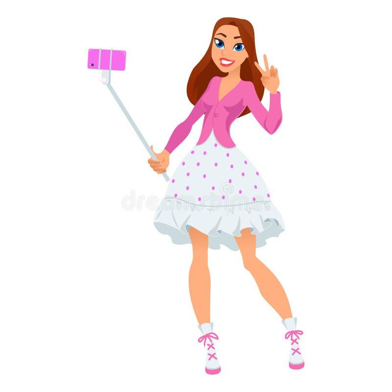 Selfie dziewczyna Virgo dla nowożytnego horoskopu ilustracja wektor