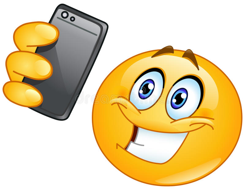 Selfie emoticon stock illustrationer