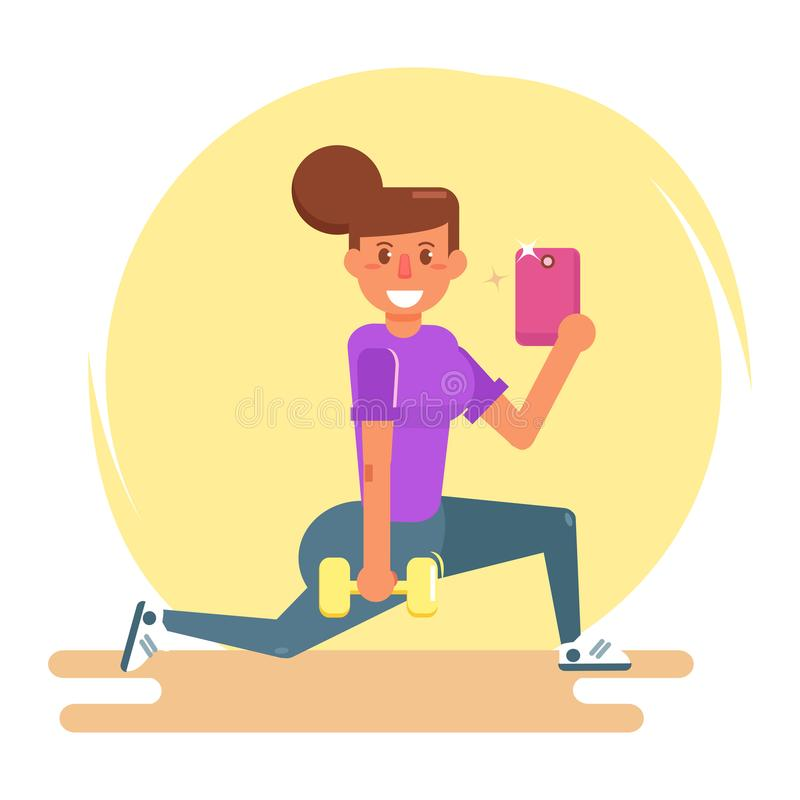 Selfie en el gimnasio Vector historieta stock de ilustración