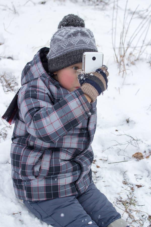 Selfie en el invierno fotografía de archivo libre de regalías