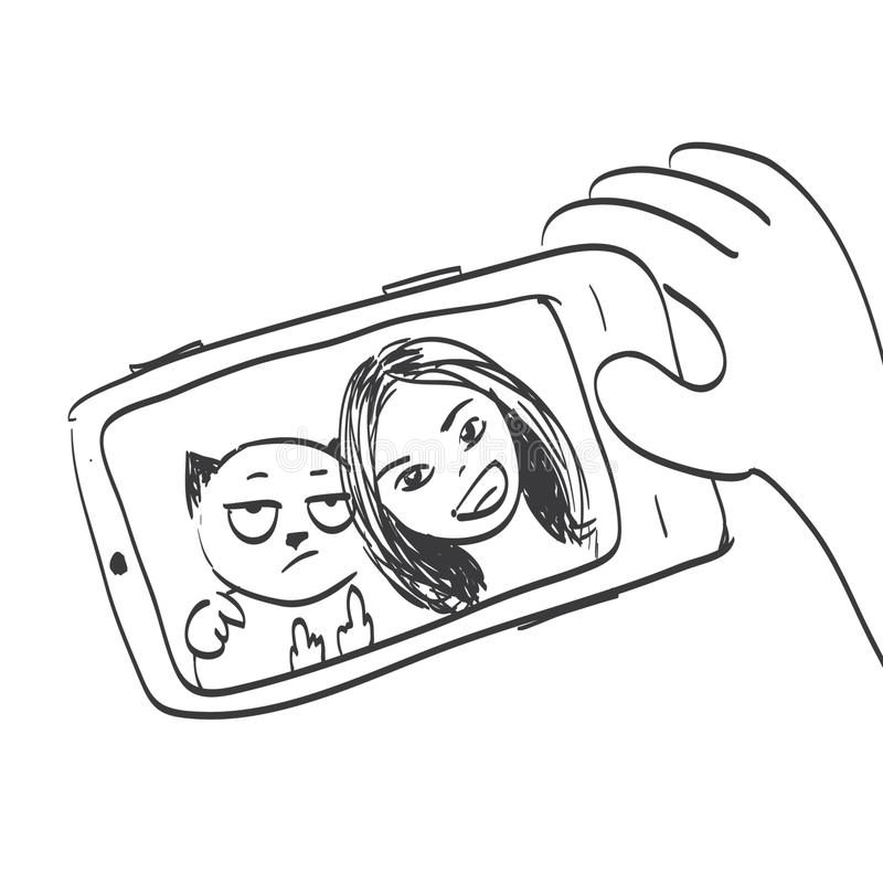 Selfie with an evil cat. Vector illustration vector illustration