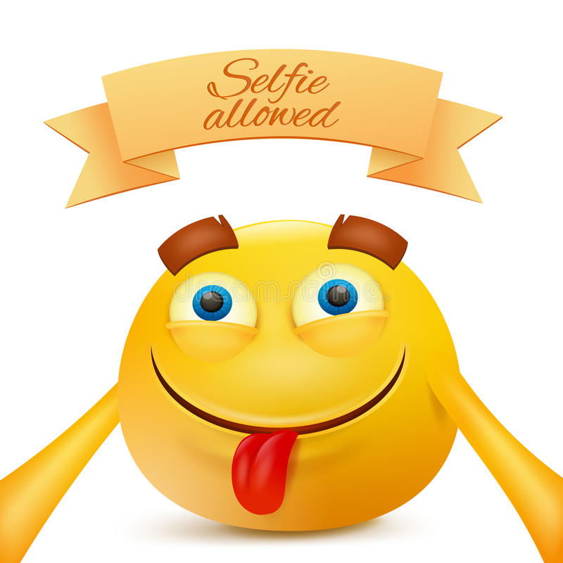 Selfie för danande för tecken för framsida för guling för Emoji emoticonsmiley vektor illustrationer