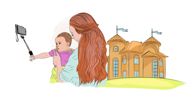 Selfie fa un piccolo bambino con la mamma e un castello medievale royalty illustrazione gratis