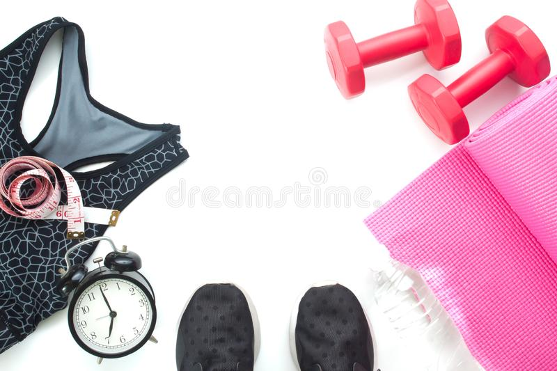 Selfie of feet with fitness items and sport equipments, Healthy and diet concept on white royalty free stock photography