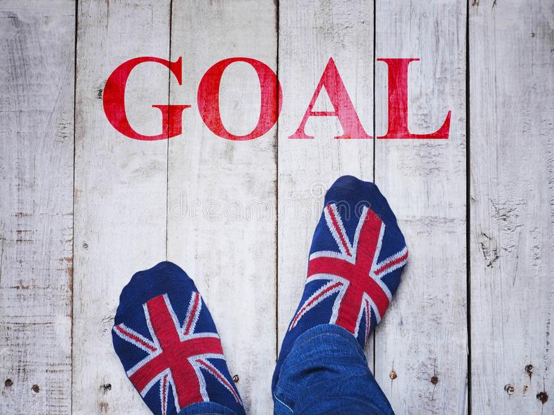 Selfie feet wearing socks with British flag pattern stock photos