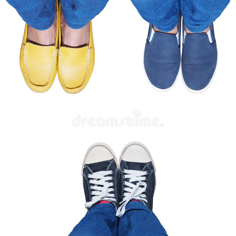 Selfie feet wearing variety shoes isolated royalty free stock photos