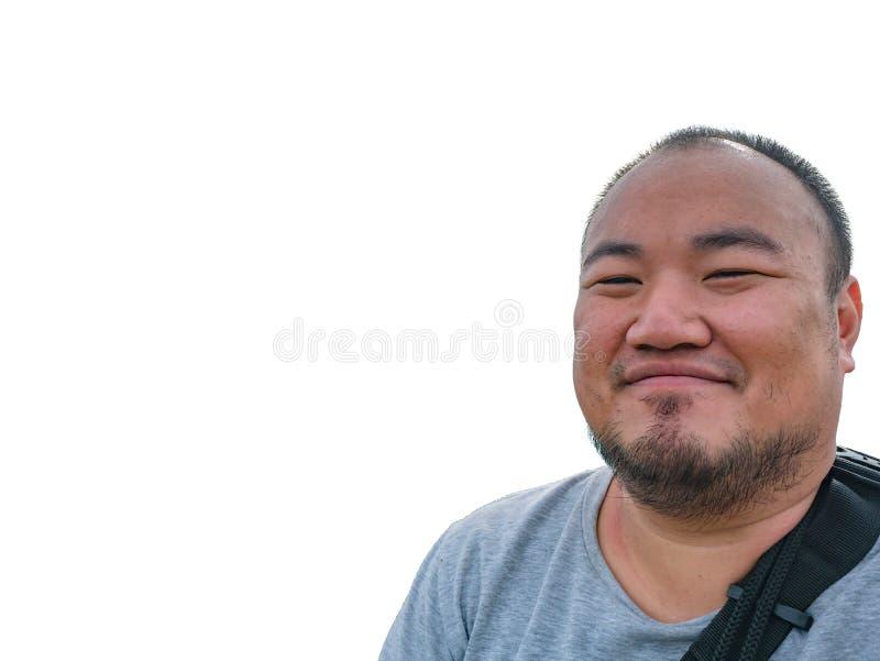 Selfie fotografia azjatykci gruby mężczyzna na odosobnionym obraz royalty free