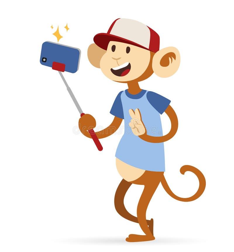 Selfie fotografii małpy małpy chłopiec modniś z nakrętką ilustracja wektor
