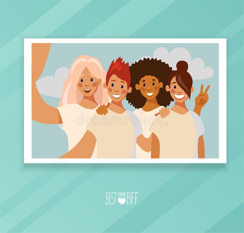 Selfie fotokort av en grupp av fyra vänner royaltyfri illustrationer