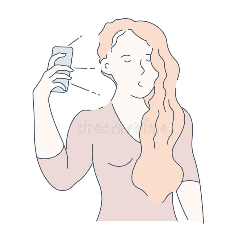 Selfie and frontal camera girl with smartphone photo isolated character. Girl taking selfie on smartphone photo and frontal camera with flashlight vector stock illustration