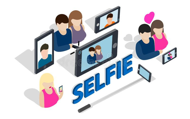Selfie gemkonst, isometrisk stil royaltyfri illustrationer