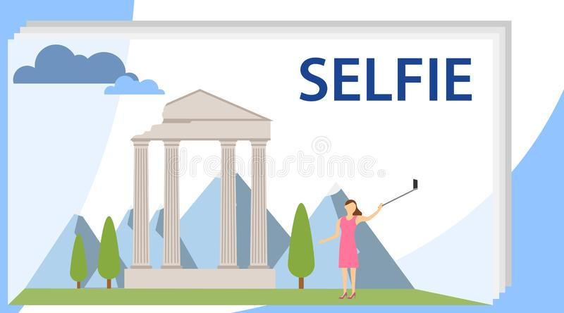 Selfie Girl Cartoon Character Illustration. A girl makes a selfie on the background of historical attractions. Selfie Girl Holding. A Smartphone stock illustration