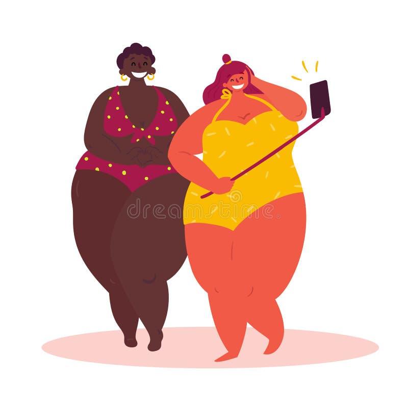 Selfie gordo da tomada da menina de dois desenhos animados, fundo branco ilustração do vetor