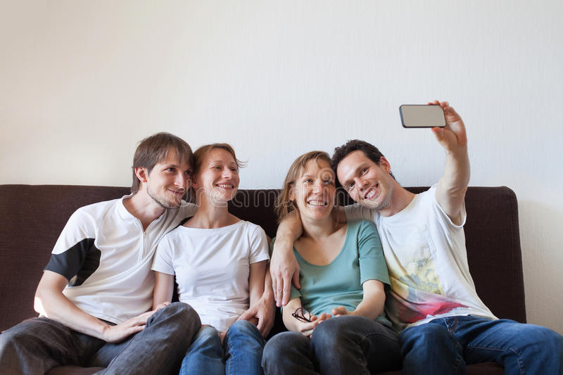 Selfie, group of friends taking photo of themselves stock photos