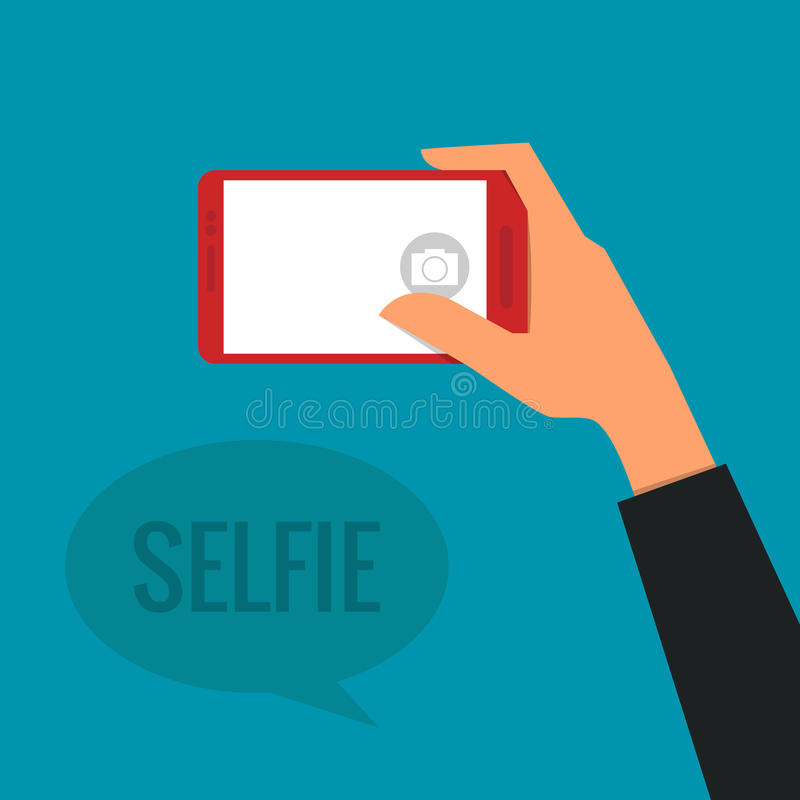 Selfie. Hand Taking a Selfie Photo stock illustration