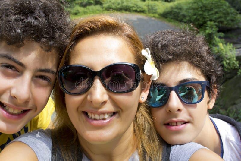 Selfie of happy family in Newyork USA stock image