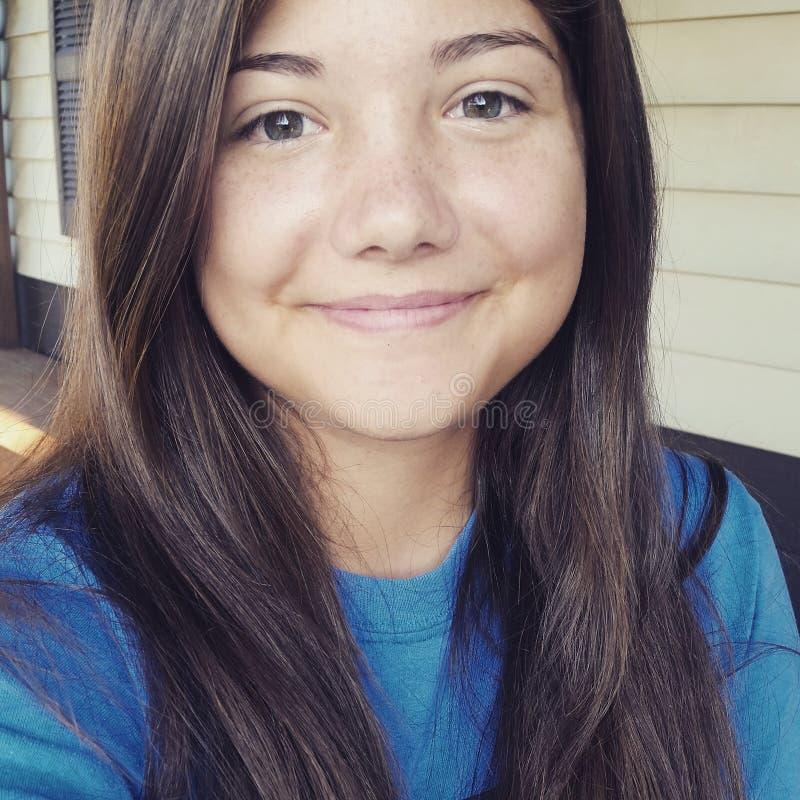 selfie stock photo. image of nomakeup, blue, teen, brunette - 81003614
