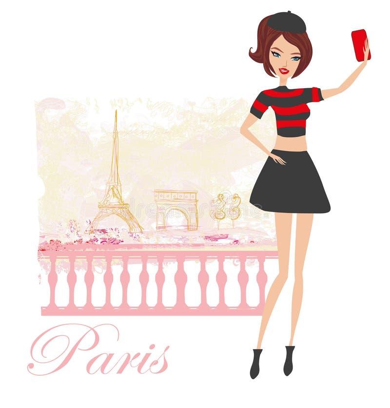 Selfie hermoso de la mujer joven en París ilustración del vector