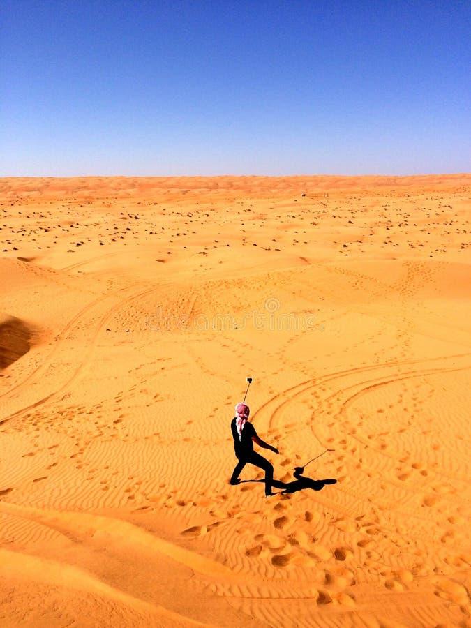 selfie hete de zon van het woestijnzand royalty-vrije stock afbeeldingen