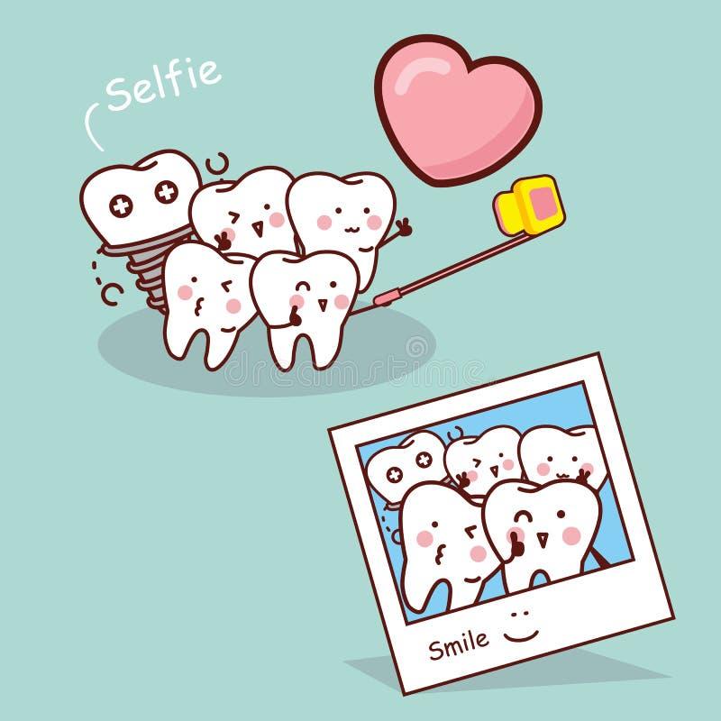 Selfie heureux de prise de dent de bande dessinée illustration de vecteur