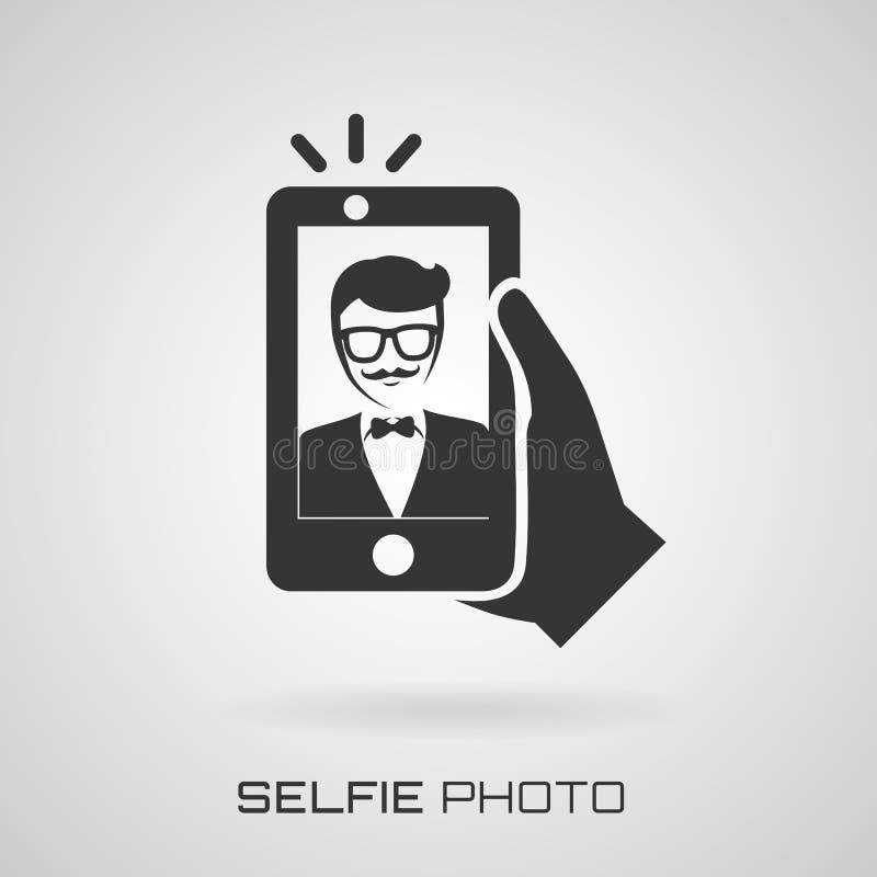 Selfie icon with trendy man. Vector symbol. stock illustration