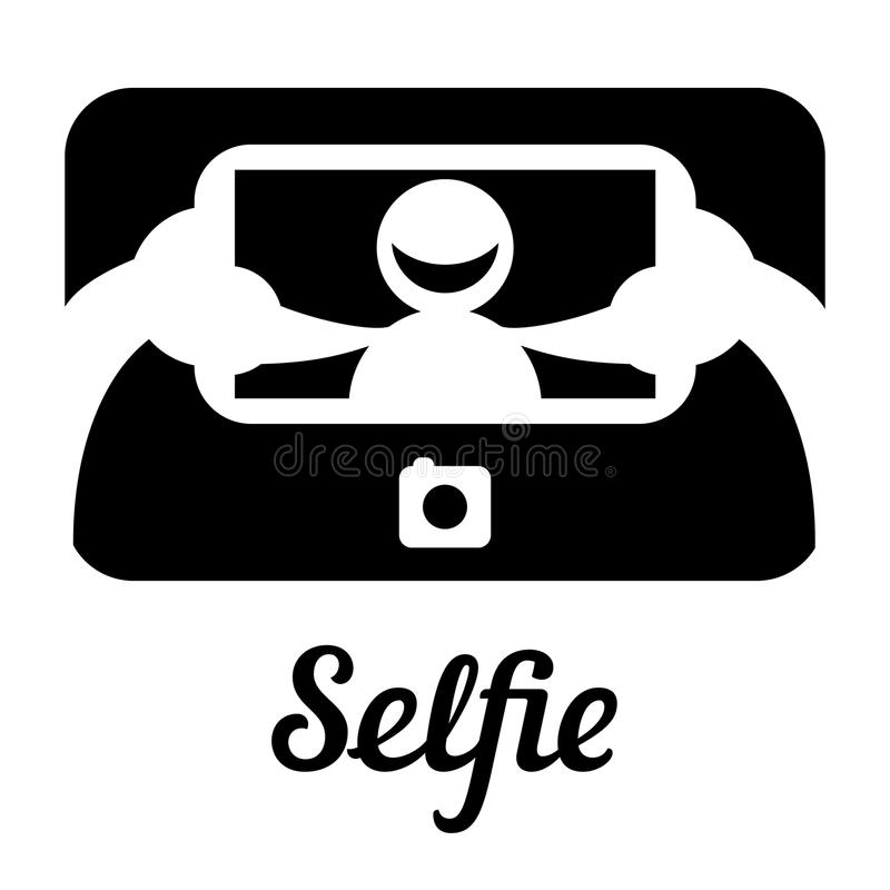 Selfie icon. Vector black and white icon with smiling face in the smartphone vector illustration