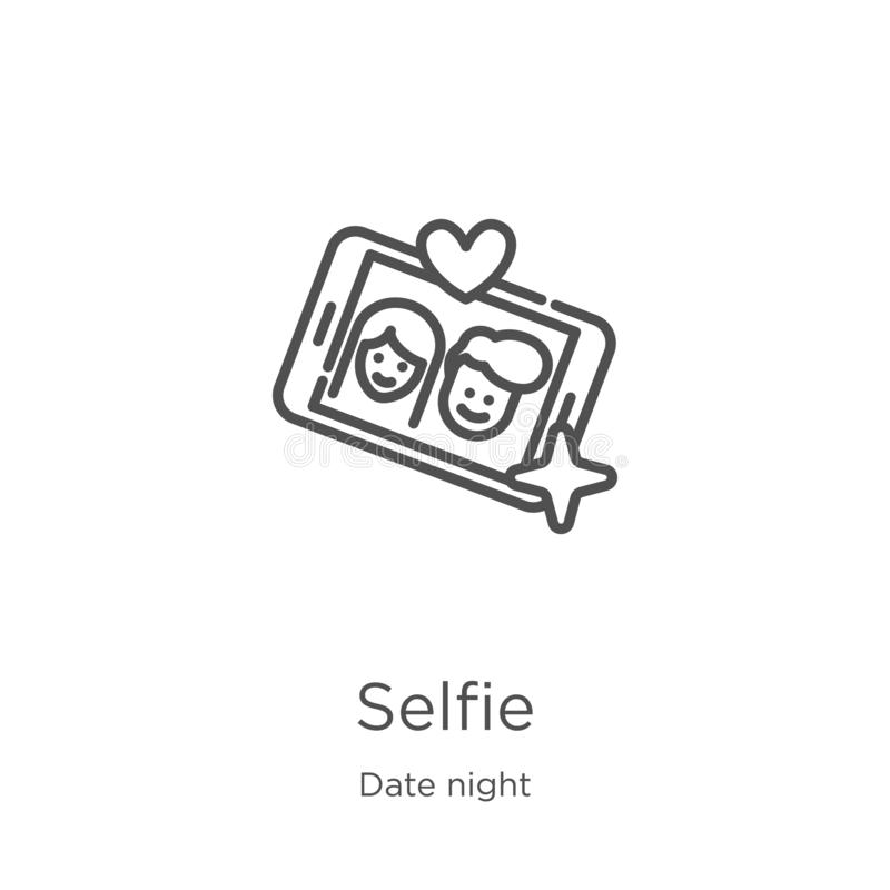 selfie icon vector from date night collection. Thin line selfie outline icon vector illustration. Outline, thin line selfie icon royalty free illustration