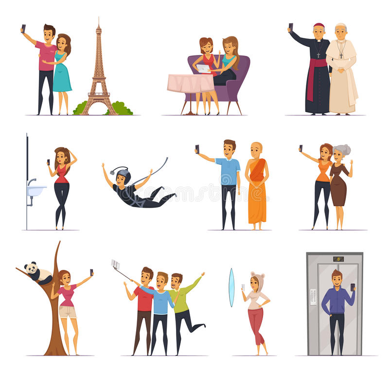 Selfie Icons Set. Selfie and people icons set with travel symbols flat isolated vector illustration royalty free illustration