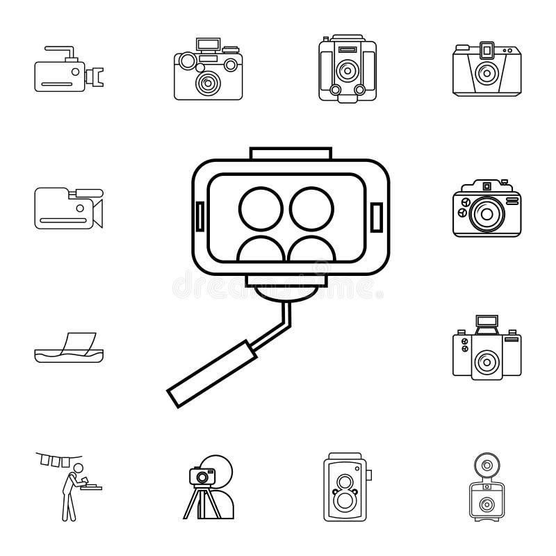 Selfie ikona Szczegółowy set fotografii kamery ikony Premii ilości graficznego projekta ikona Jeden inkasowe ikony dla stron inte ilustracja wektor