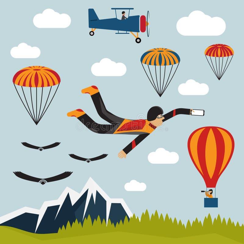 selfie illustratie van het parachutist de vlakke ontwerp vector illustratie