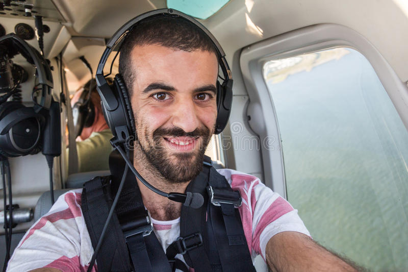 Selfie im Hubschrauber stockbilder