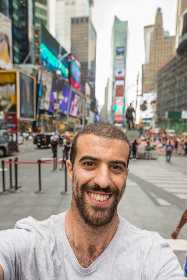 Selfie im Times Square lizenzfreies stockbild