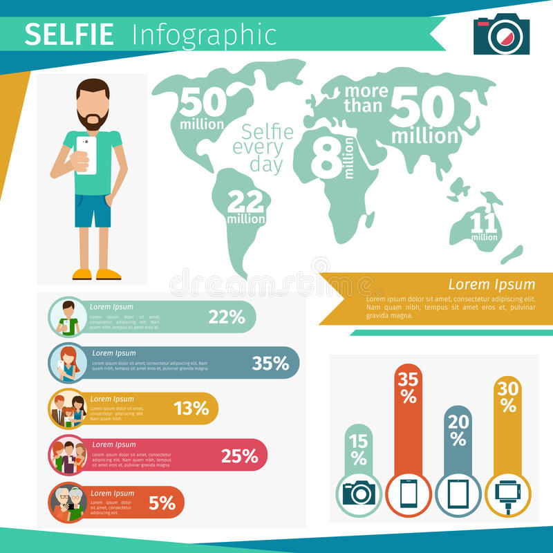 Selfie infographics royalty ilustracja