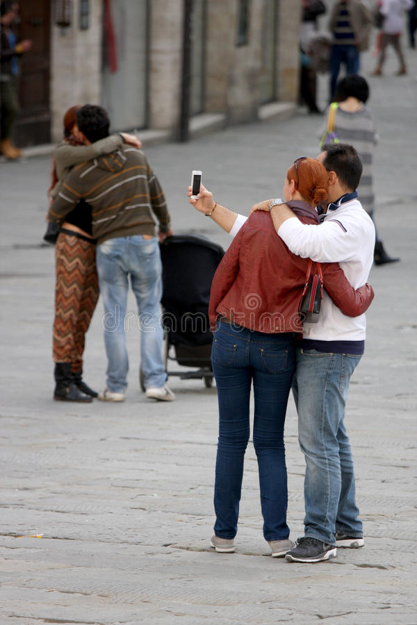 Selfie with love. Couples hugging stock photo