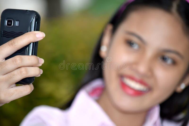 Selfie Młody Azjatycki Żeński nieletni obrazy stock