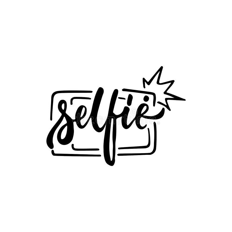 Selfie - mano dibujada poniendo letras a la frase aislada en el fondo blanco Inscripción de la tinta del cepillo de la diversión  ilustración del vector